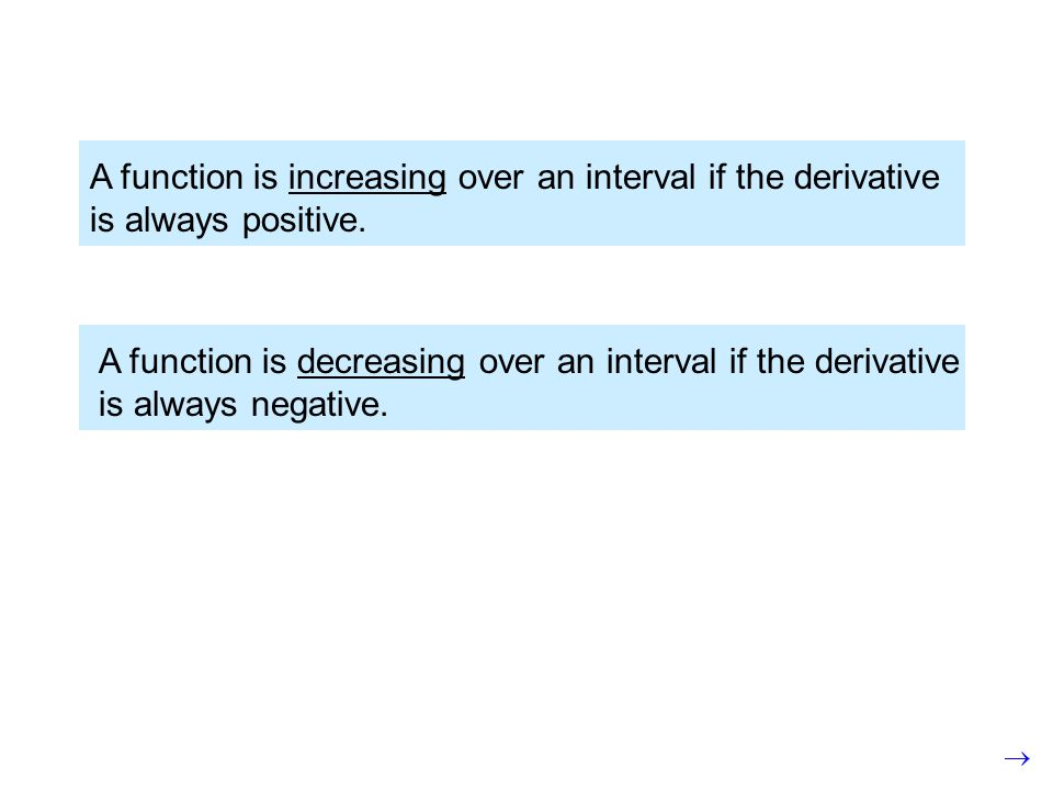 A function is increasing over an interval if the derivative is always positive.