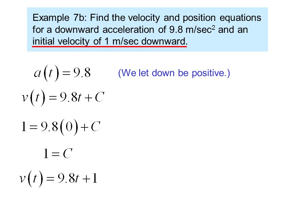 Since acceleration is the derivative of velocity, velocity must be the antiderivative of acceleration.