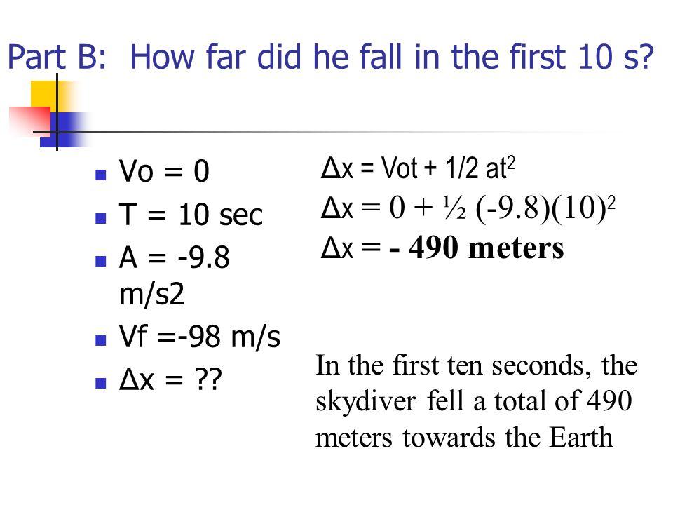 Part B: How far did he fall in the first 10 s? Vo = 0 T = 10 sec A = -9.8 m/s2 Vf =-98 m/s Δ x = ?? Δ x = Vot + 1/2 at 2 Δ x = 0 + ½ (-9.8)(10) 2 Δ x