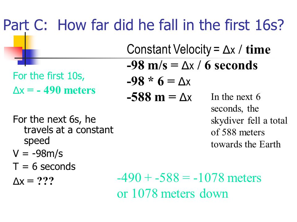 Part C: How far did he fall in the first 16s.