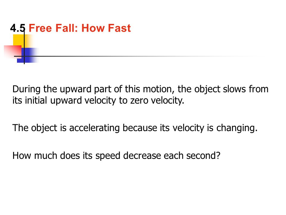 During the upward part of this motion, the object slows from its initial upward velocity to zero velocity.