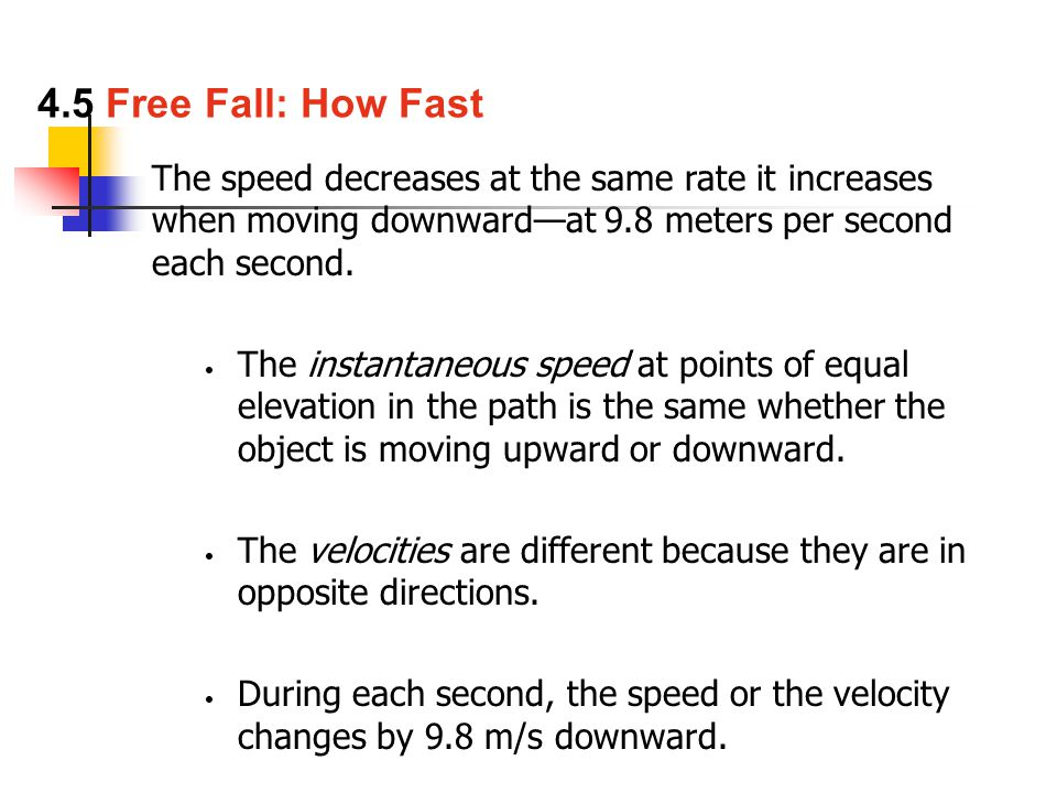The speed decreases at the same rate it increases when moving downward—at 9.8 meters per second each second.