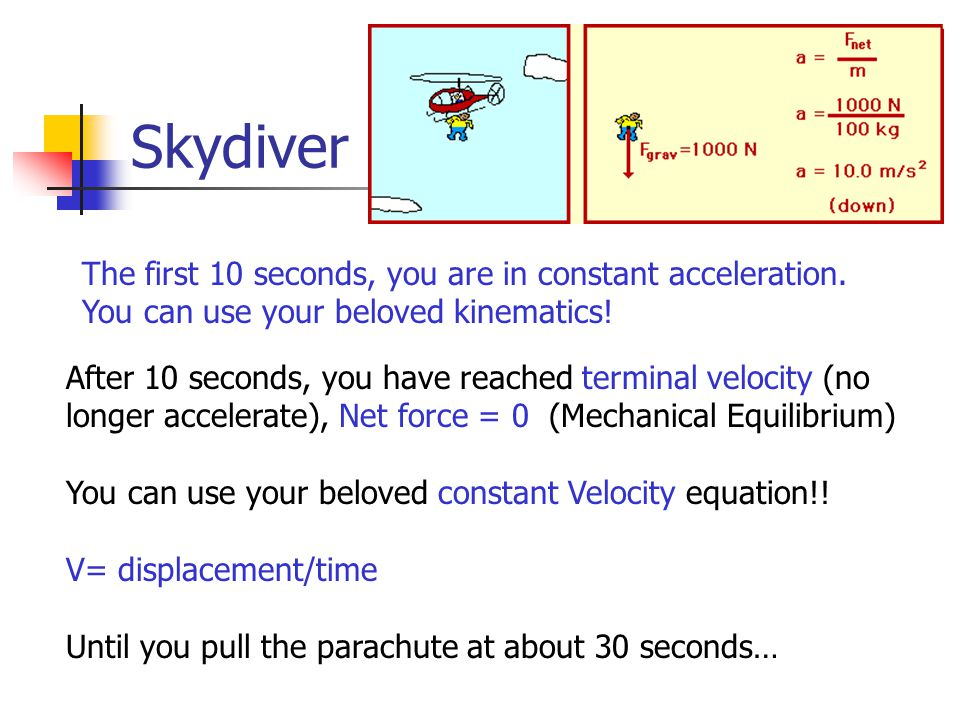 The first 10 seconds, you are in constant acceleration.