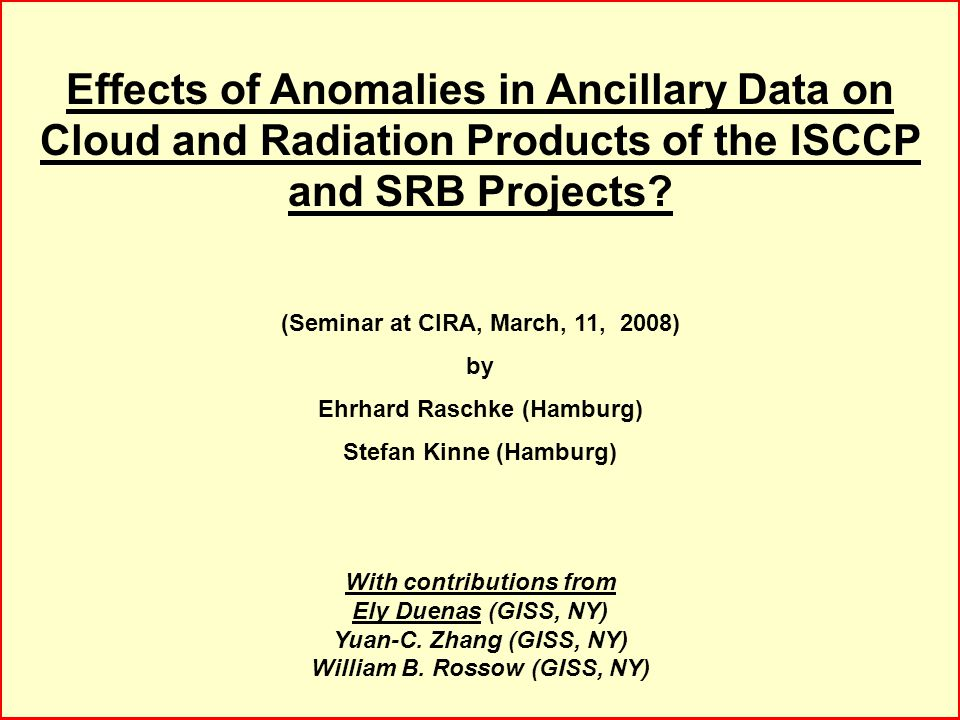 Effects of Anomalies in Ancillary Data on Cloud and Radiation Products of the ISCCP and SRB Projects.