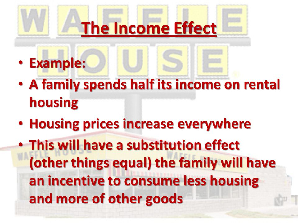 The Income Effect Example: Example: A family spends half its income on rental housing A family spends half its income on rental housing Housing prices increase everywhere Housing prices increase everywhere This will have a substitution effect (other things equal) the family will have an incentive to consume less housing and more of other goods This will have a substitution effect (other things equal) the family will have an incentive to consume less housing and more of other goods
