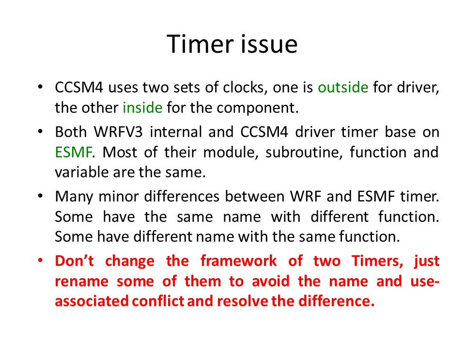 Timer issue CCSM4 uses two sets of clocks, one is outside for driver, the other inside for the component.