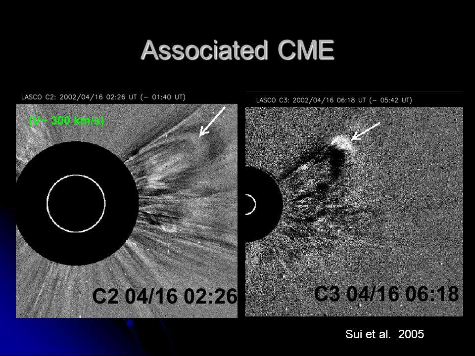 Associated CME C2 04/16 02:26 C3 04/16 06:18 (V~ 300 km/s) Sui et al. 2005