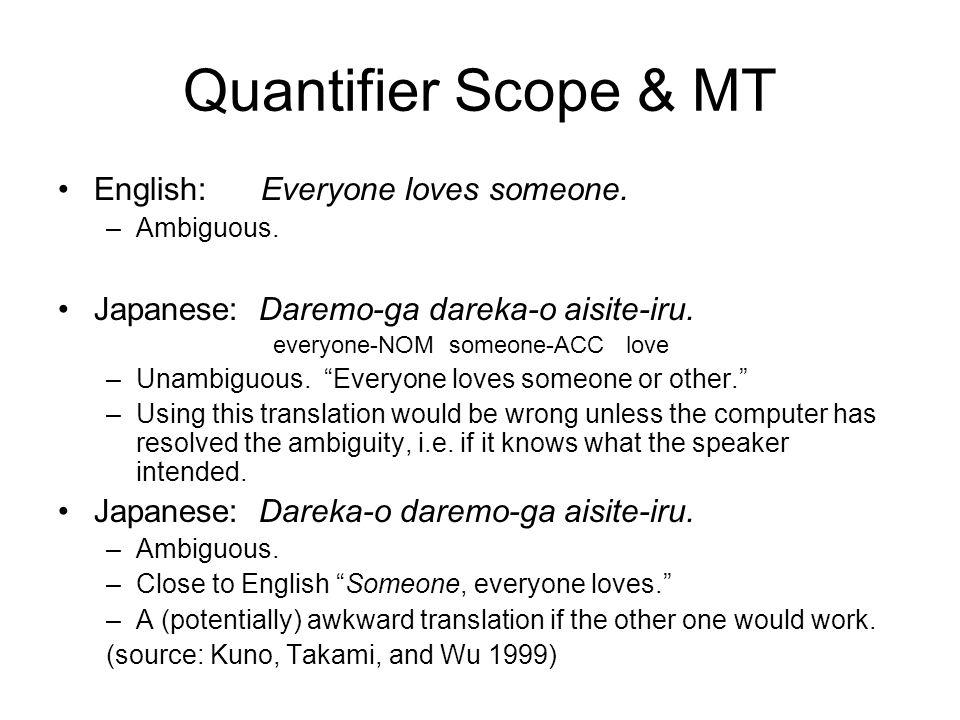 Quantifier Scope & MT English: Everyone loves someone. –Ambiguous. Japanese: Daremo-ga dareka-o aisite-iru. everyone-NOM someone-ACC love –Unambiguous
