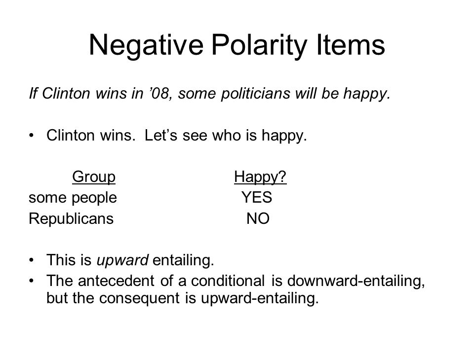 Negative Polarity Items If Clinton wins in '08, some politicians will be happy. Clinton wins. Let's see who is happy. Group Happy? some people YES Rep