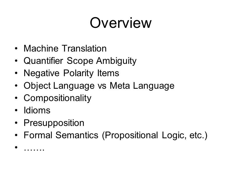 Overview Machine Translation Quantifier Scope Ambiguity Negative Polarity Items Object Language vs Meta Language Compositionality Idioms Presuppositio
