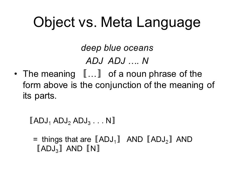 Object vs. Meta Language deep blue oceans ADJ ADJ ….
