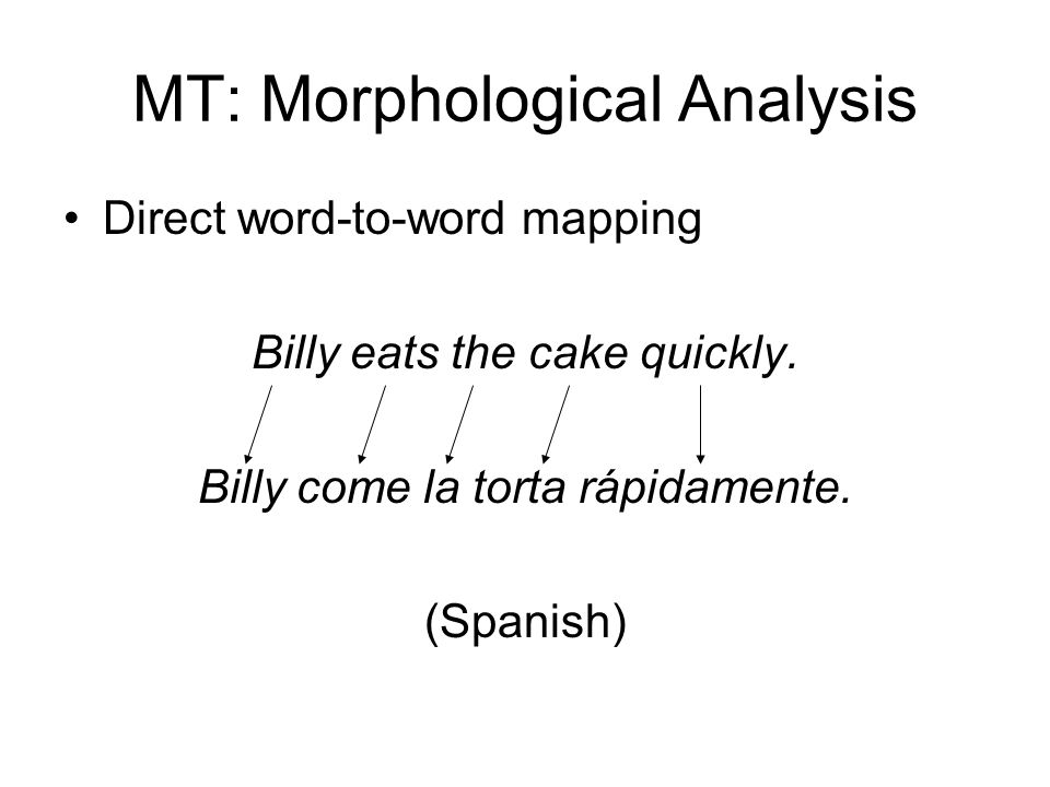 MT: Morphological Analysis Direct word-to-word mapping Billy eats the cake quickly. Billy come la torta rápidamente. (Spanish)