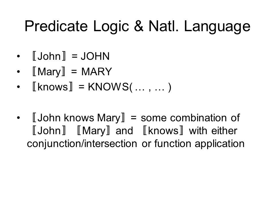 Predicate Logic & Natl.