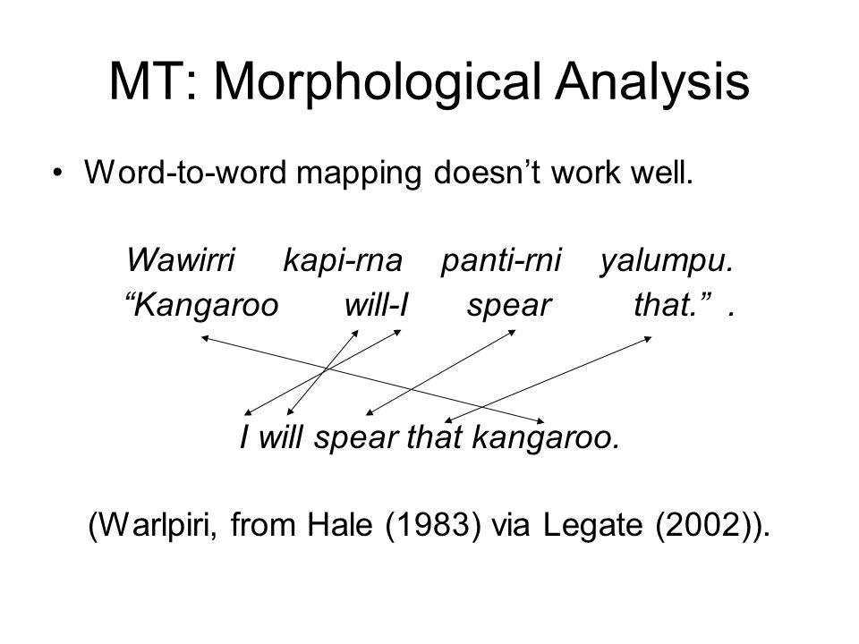 """MT: Morphological Analysis Word-to-word mapping doesn't work well. Wawirri kapi-rna panti-rni yalumpu. """"Kangaroo will-I spear that."""". I will spear tha"""
