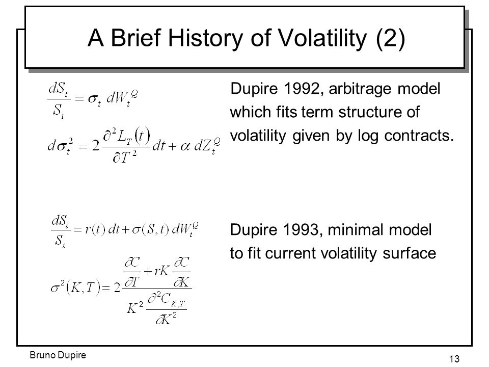 Bruno Dupire 13 A Brief History of Volatility (2) Dupire 1992, arbitrage model which fits term structure of volatility given by log contracts.