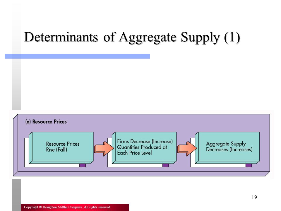 19 Copyright © Houghton Mifflin Company. All rights reserved. Determinants of Aggregate Supply (1)