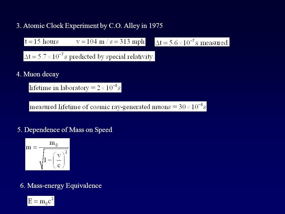 3. Atomic Clock Experiment by C.O. Alley in 1975 4. Muon decay 5. Dependence of Mass on Speed 6. Mass-energy Equivalence