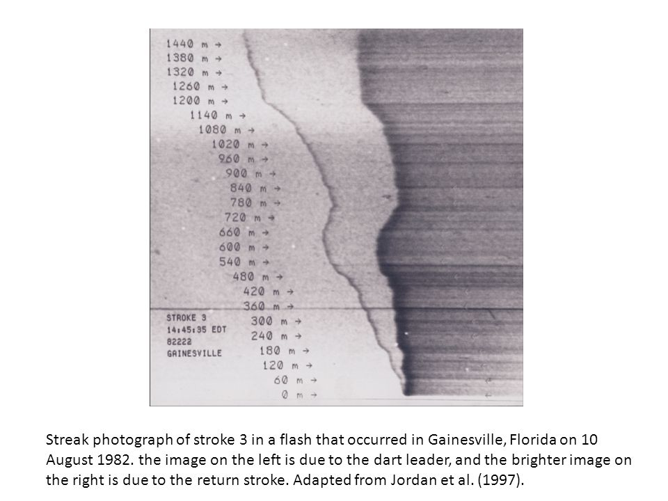 Streak photograph of stroke 3 in a flash that occurred in Gainesville, Florida on 10 August 1982.