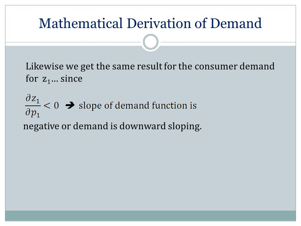 Mathematical Derivation of Demand Likewise we get the same result for the consumer demand for z 1 … since negative or demand is downward sloping.