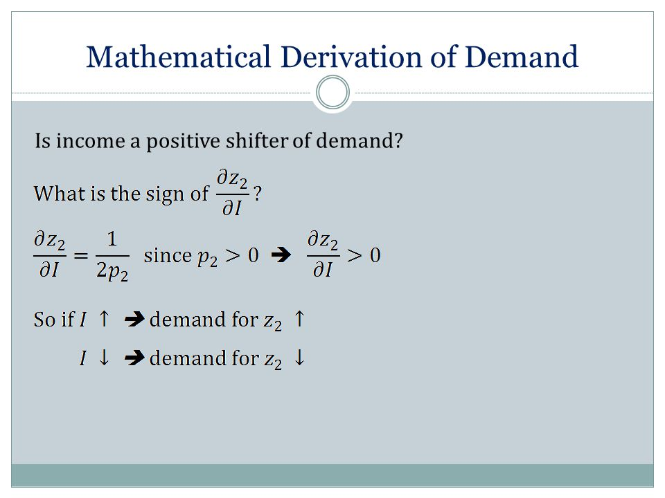 Mathematical Derivation of Demand Is income a positive shifter of demand