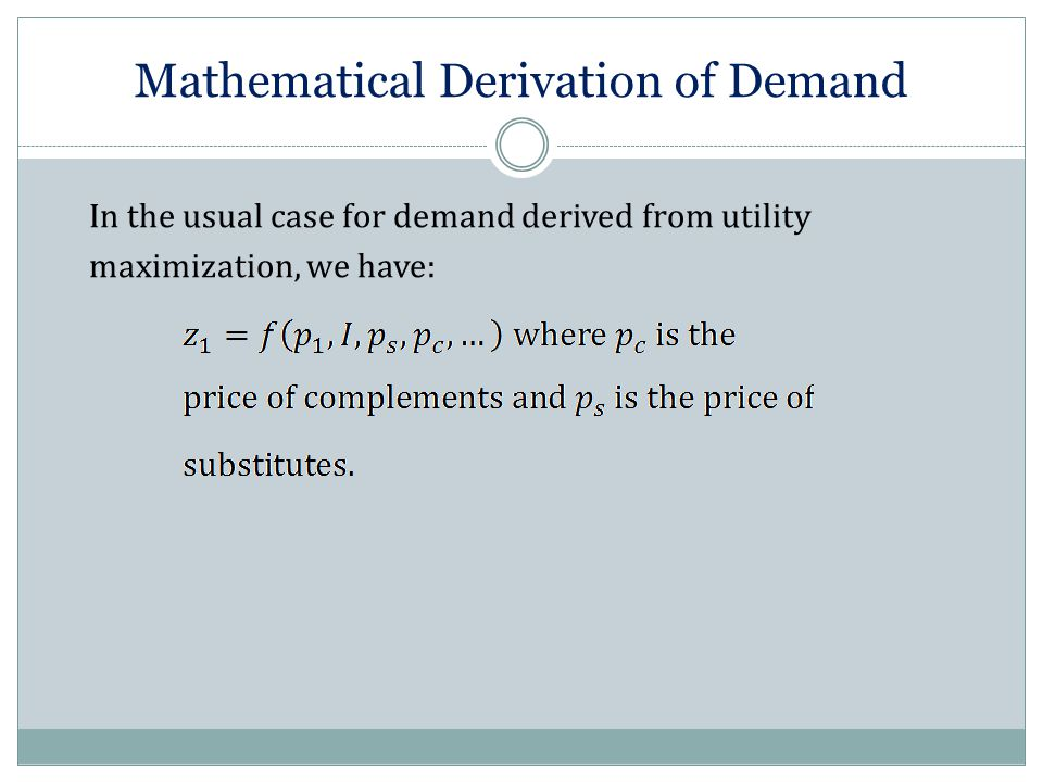 In the usual case for demand derived from utility maximization, we have: Mathematical Derivation of Demand