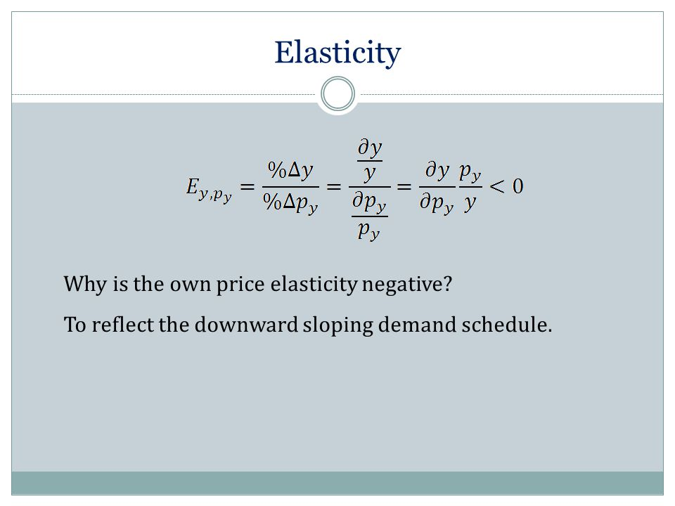 Elasticity Why is the own price elasticity negative? To reflect the downward sloping demand schedule.