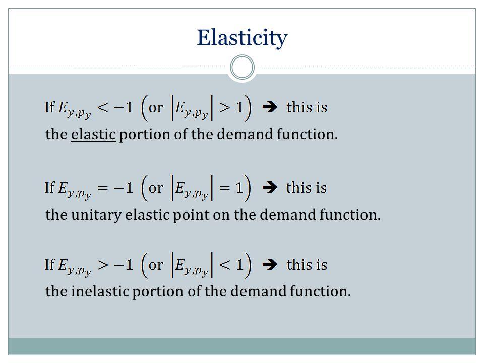 Elasticity the elastic portion of the demand function. the unitary elastic point on the demand function. the inelastic portion of the demand function.