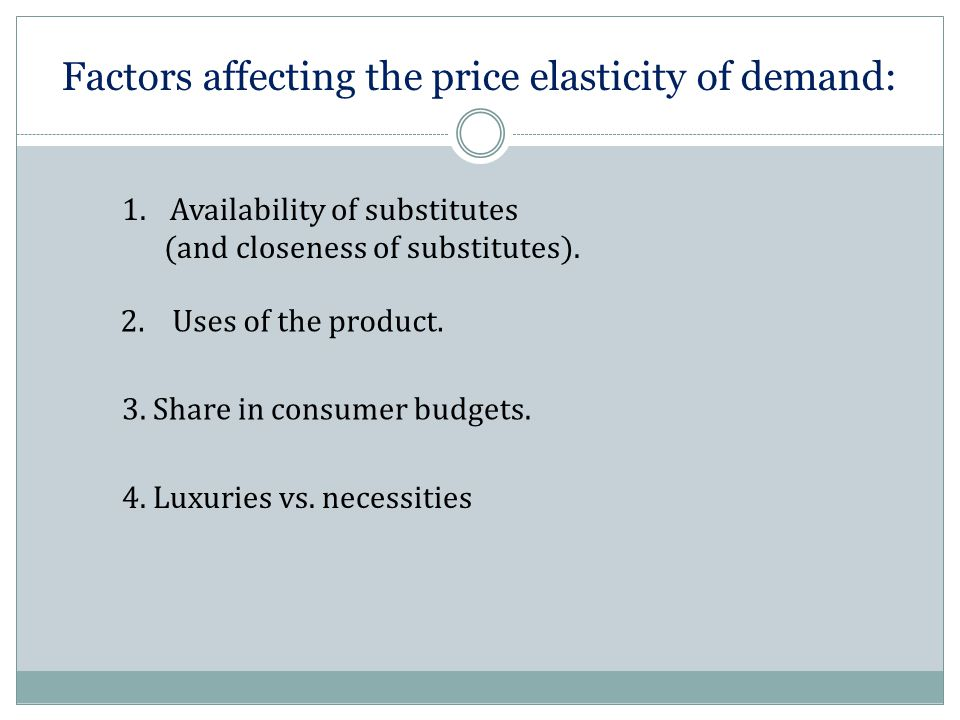 Factors affecting the price elasticity of demand: 1.Availability of substitutes (and closeness of substitutes). 2. Uses of the product. 3. Share in co
