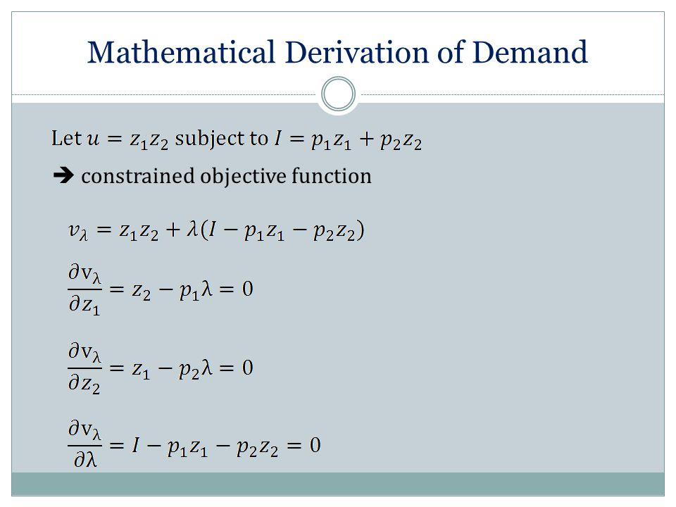 Mathematical Derivation of Demand  constrained objective function