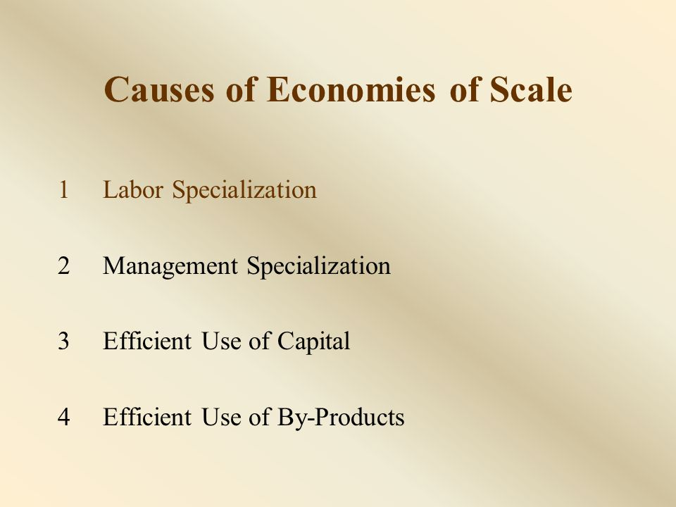 1Labor Specialization 2Management Specialization 3Efficient Use of Capital 4Efficient Use of By-Products