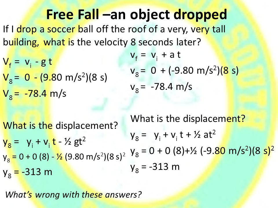 Free Fall –an object dropped V f = v i - g t V 8 = 0 - (9.80 m/s 2 )(8 s) V 8 = -78.4 m/s What is the displacement.