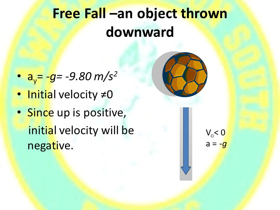Free Fall –an object thrown downward a y = -g= -9.80 m/s 2 Initial velocity ≠0 Since up is positive, initial velocity will be negative.