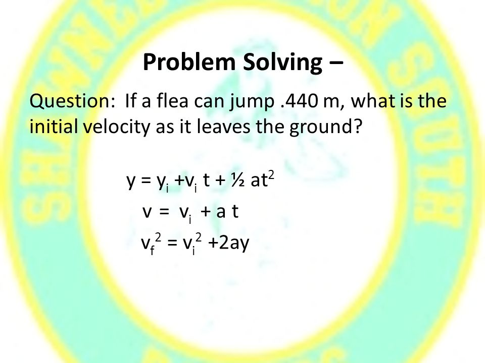 Problem Solving – Question: If a flea can jump.440 m, what is the initial velocity as it leaves the ground.