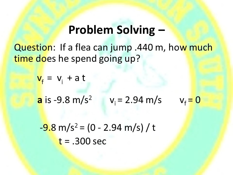 Problem Solving – Question: If a flea can jump.440 m, how much time does he spend going up.