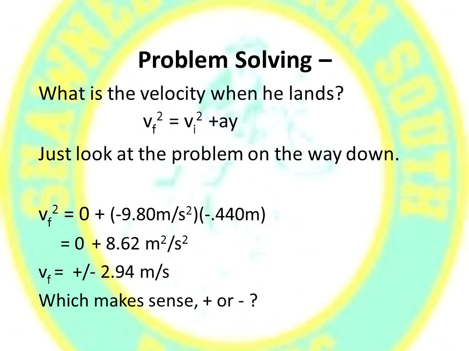 Problem Solving – What is the velocity when he lands.