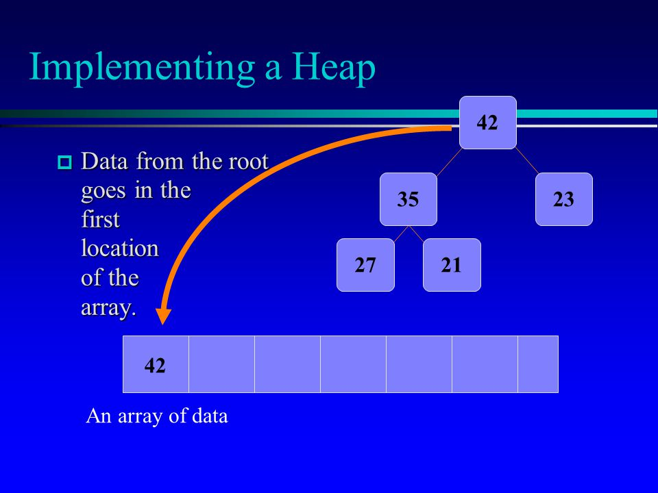 Implementing a Heap  Data from the root goes in the first location of the array.