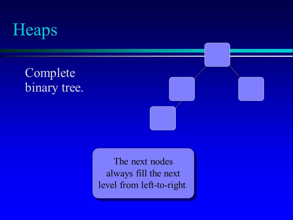 Heaps Complete binary tree. The next nodes always fill the next. level from left-to-right.