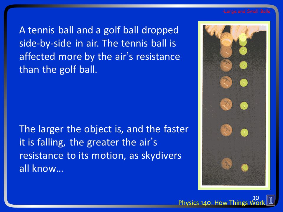 A tennis ball and a golf ball dropped side-by-side in air. The tennis ball is affected more by the air's resistance than the golf ball. The larger the