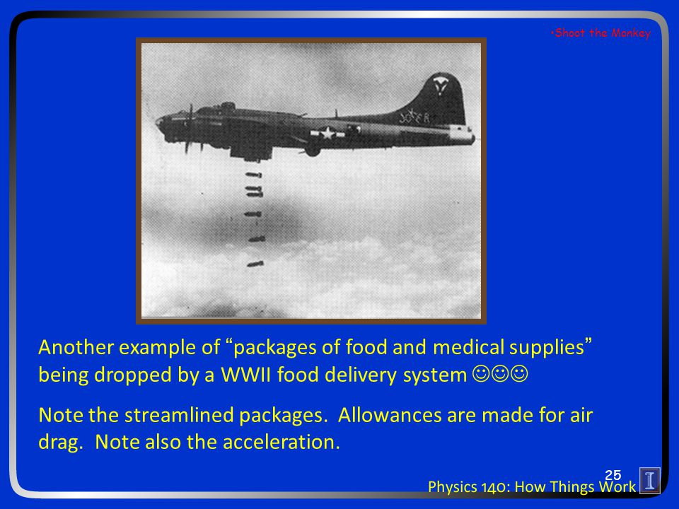 Another example of packages of food and medical supplies being dropped by a WWII food delivery system Note the streamlined packages.