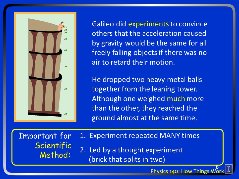 Galileo did experiments to convince others that the acceleration caused by gravity would be the same for all freely falling objects if there was no air to retard their motion.