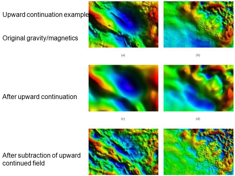 Upward continuation example Original gravity/magnetics After upward continuation After subtraction of upward continued field