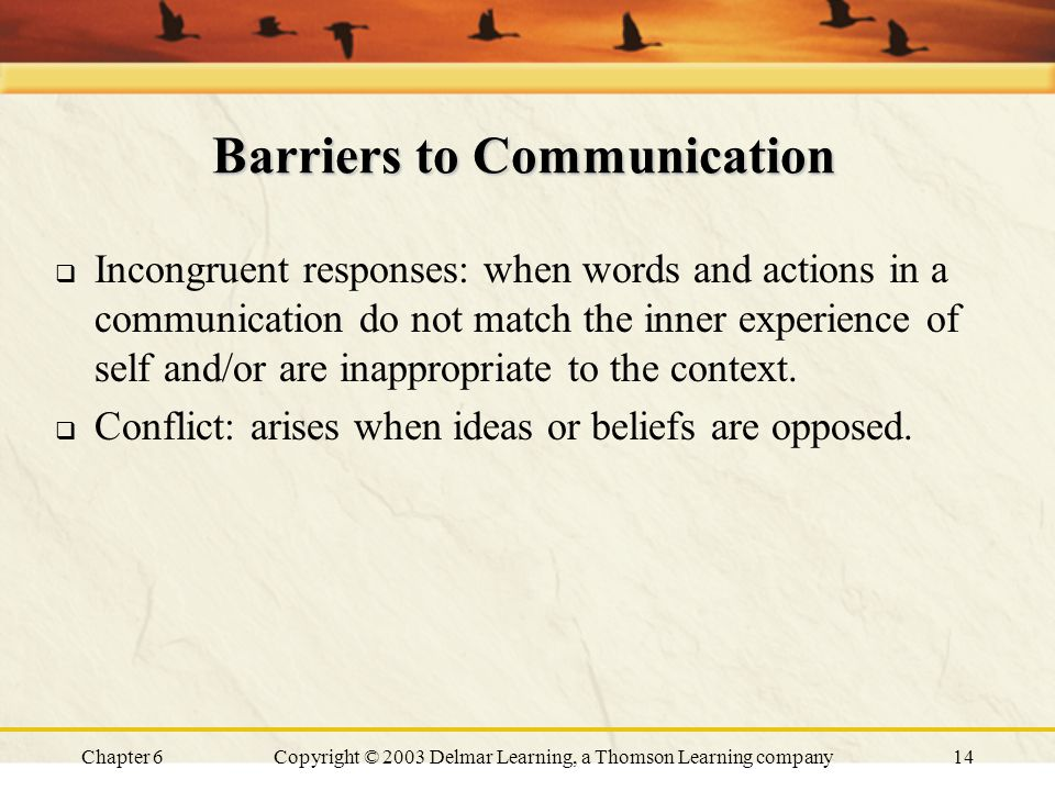 Chapter 6Copyright © 2003 Delmar Learning, a Thomson Learning company14 Barriers to Communication  Incongruent responses: when words and actions in a communication do not match the inner experience of self and/or are inappropriate to the context.