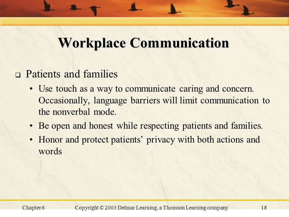 Chapter 6Copyright © 2003 Delmar Learning, a Thomson Learning company18 Workplace Communication  Patients and families Use touch as a way to communicate caring and concern.
