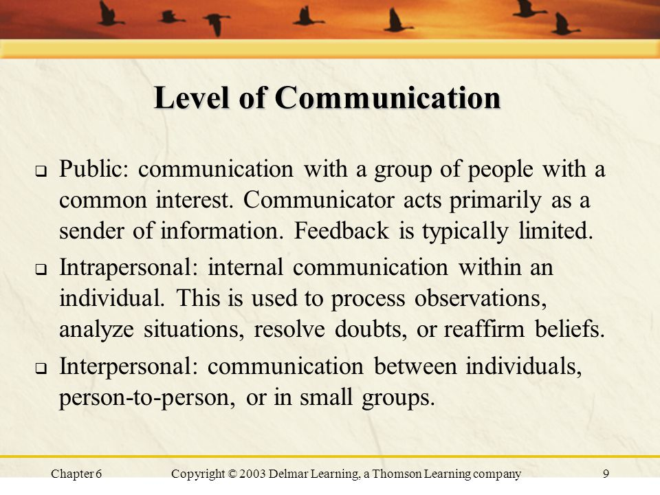 Chapter 6Copyright © 2003 Delmar Learning, a Thomson Learning company9 Level of Communication  Public: communication with a group of people with a co