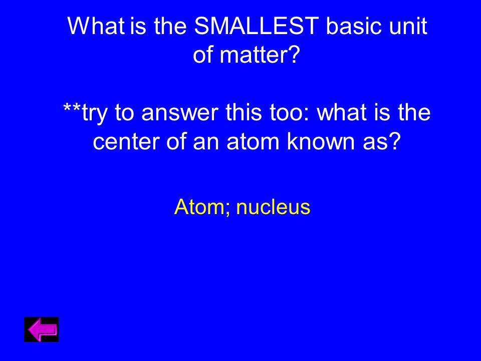What is the SMALLEST basic unit of matter.