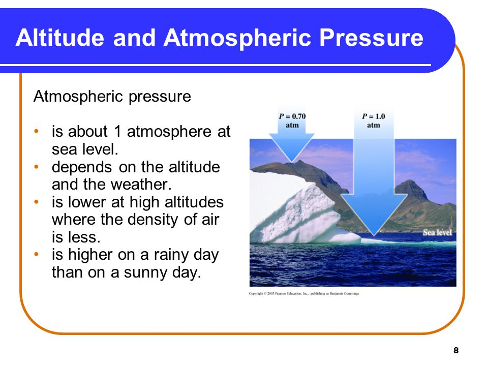 8 Altitude and Atmospheric Pressure Atmospheric pressure is about 1 atmosphere at sea level.