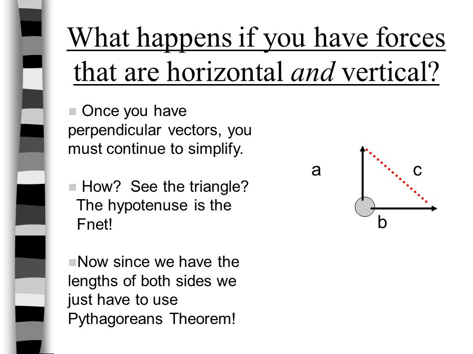 a c b What happens if you have forces that are horizontal and vertical? Once you have perpendicular vectors, you must continue to simplify. How? See t
