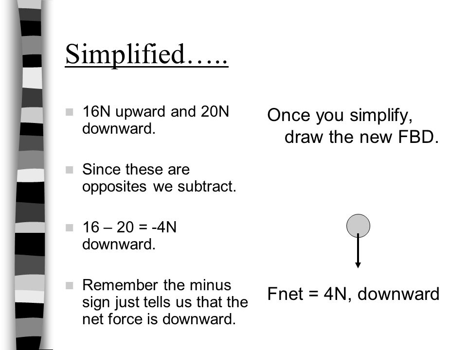 Simplified….. 16N upward and 20N downward. Since these are opposites we subtract. 16 – 20 = -4N downward. Remember the minus sign just tells us that t