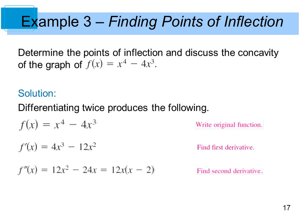 17 Example 3 – Finding Points of Inflection Determine the points of inflection and discuss the concavity of the graph of Solution: Differentiating twi