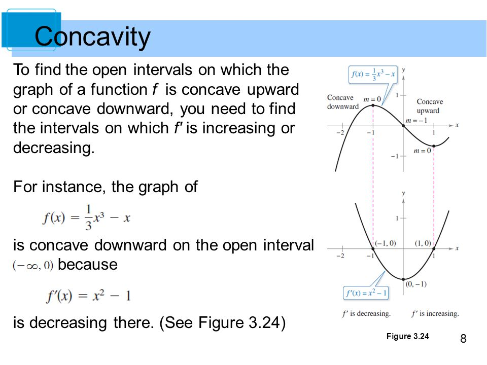 8 Figure 3.24 Concavity To find the open intervals on which the graph of a function f is concave upward or concave downward, you need to find the inte